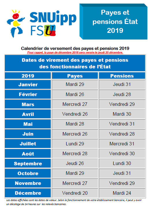 Salaire Enseignant Calendrier.Snuipp Fsu 62 Calendrier 2019 Des Payes Et Pensions
